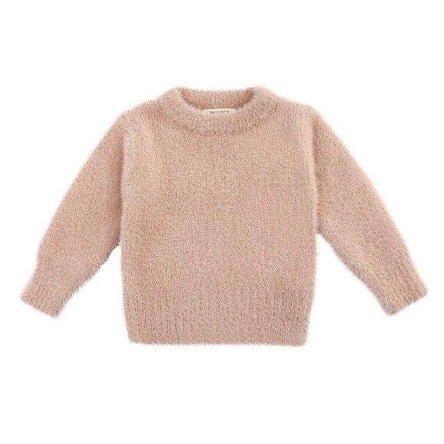 Girls Sweaters Winter Wear New Style Imitation Mink Jacket Sweater 1 3 Year Old Baby Warm Coat Kids Sweaters