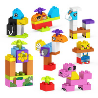 Assembling Large Particle Building Blocks Brick Various Shapes Barrels Cartoon Animals Children Educational Toy Mix Stickers O51