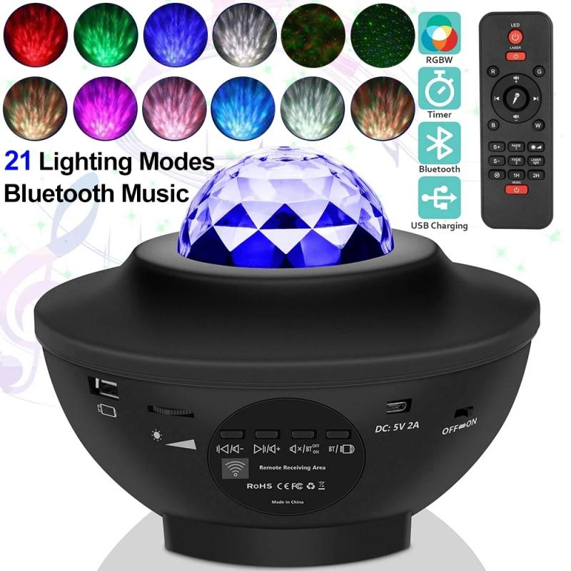 Светодиодный Звездный Ночной светильник, музыка, звездная водная волна, красочный Звездный проектор неба, проектор с Blueteeth звуковой активац...