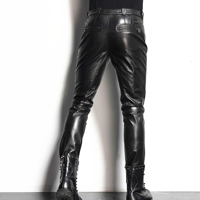Luxury Men's Skin Leather Pants Motorcycle Cutting Fan Top Quality Leather Pants Pants Straight Pants