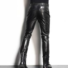 Luxury men's skin leather pants motorcycle cutting fan top quality leather pants pants straight pants(China)