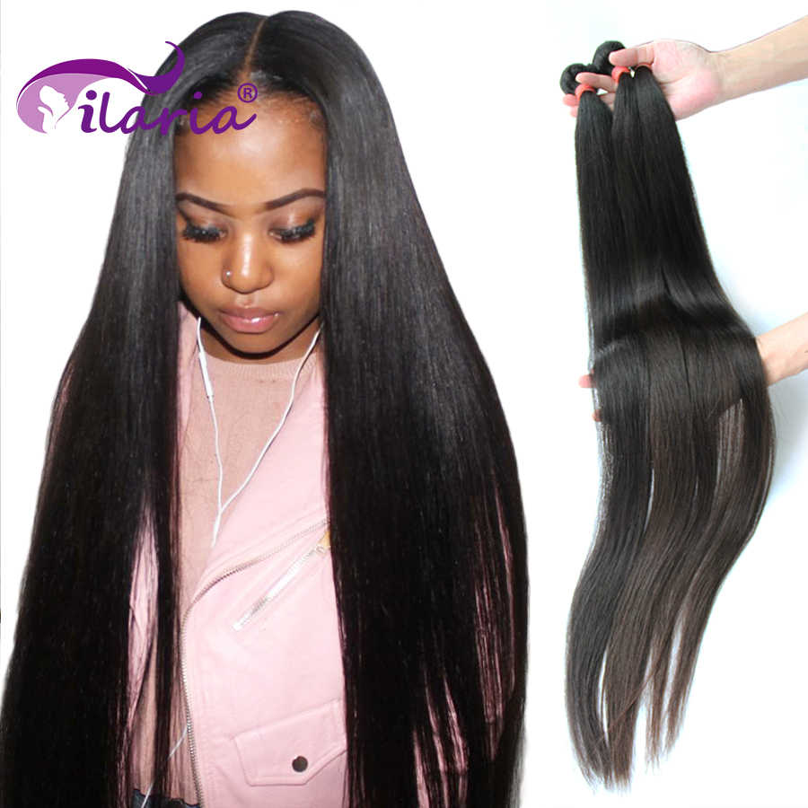 ILARIA 30 32 34 36 38 40 inch Bundles Straight Brazilian Hair Weave Bundles Remy Hair Extensions 3 4 Bundles 100% Human Hair