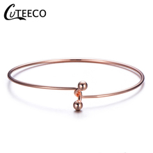 CUTEECO Bangle For Women Fashion Simple Jewelry Gift New Style Rose Gold Color Bracelet Minimalist Pure Copper