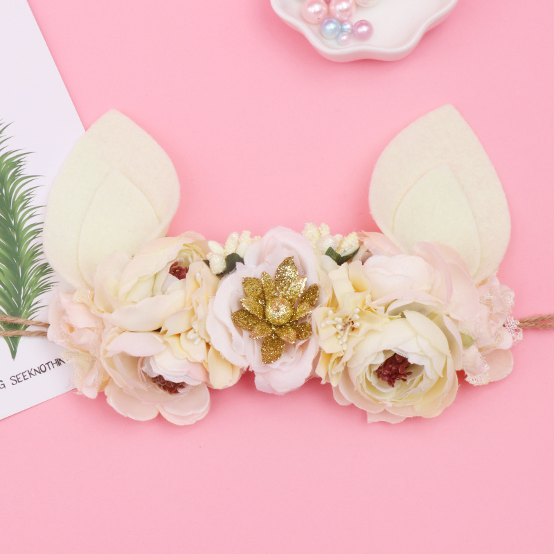 Children's Headdress Flower Hair With Rabbit Ear Kawaii Hat Headdress Easter Gift Baby Garland Hair Ornament Anniversaire Enfant