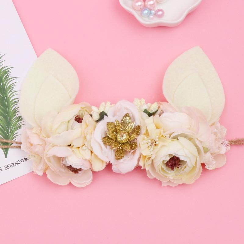 Children's Headdress Flower Hair With Rabbit Ear Kawaii Hat Headdress Easter Gift Baby Garland Hair Ornament Anniversaire Enfant