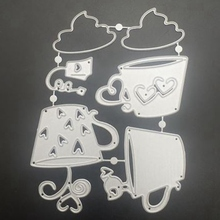 Coffee Cup Metal Cutting Dies DIY Scrapbook Stamp Book, Greeting Card Paper Decoration Crafts Embossing Mold