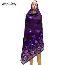 High-quality fashionable women's scarf-style headscarves, large size chiffon embroidered scarf, outdoor shawl for women,BF-008(China)
