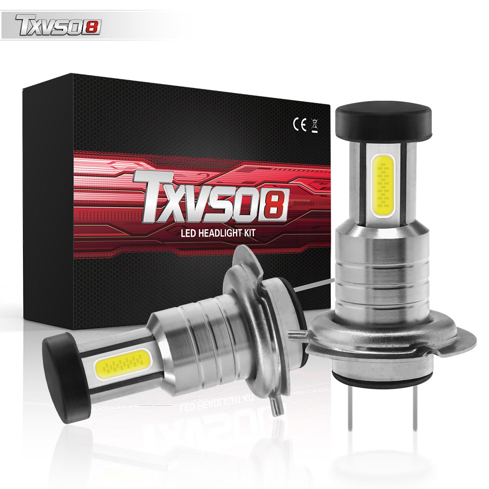 2pcs H7 LED Headlight Bulb 55W 30000LM LED Canbus Auto Light H7 Hi/Lo Beam Conversion Globes Bulbs 6000K Headlamp Beam Kit