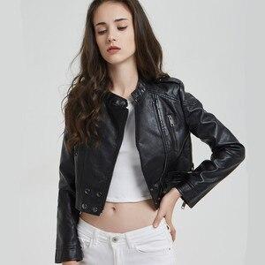 Женская байкерская куртка из искусственной кожи высокого качества, повседневная Короткая Черная байкерская куртка в стиле хип-хоп, верхняя...