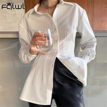 FQLWL koszula z długim rękawem dla kobiet bluzka Casual biały długi jednorzędowy koszula kobiet Ruched panie Slim koszula z kołnierzykiem 2020 tanie i dobre opinie Poliester CN (pochodzenie) Wiosna jesień REGULAR Osób w wieku 18-35 lat Skręcić w dół kołnierz NONE Pełna Na co dzień