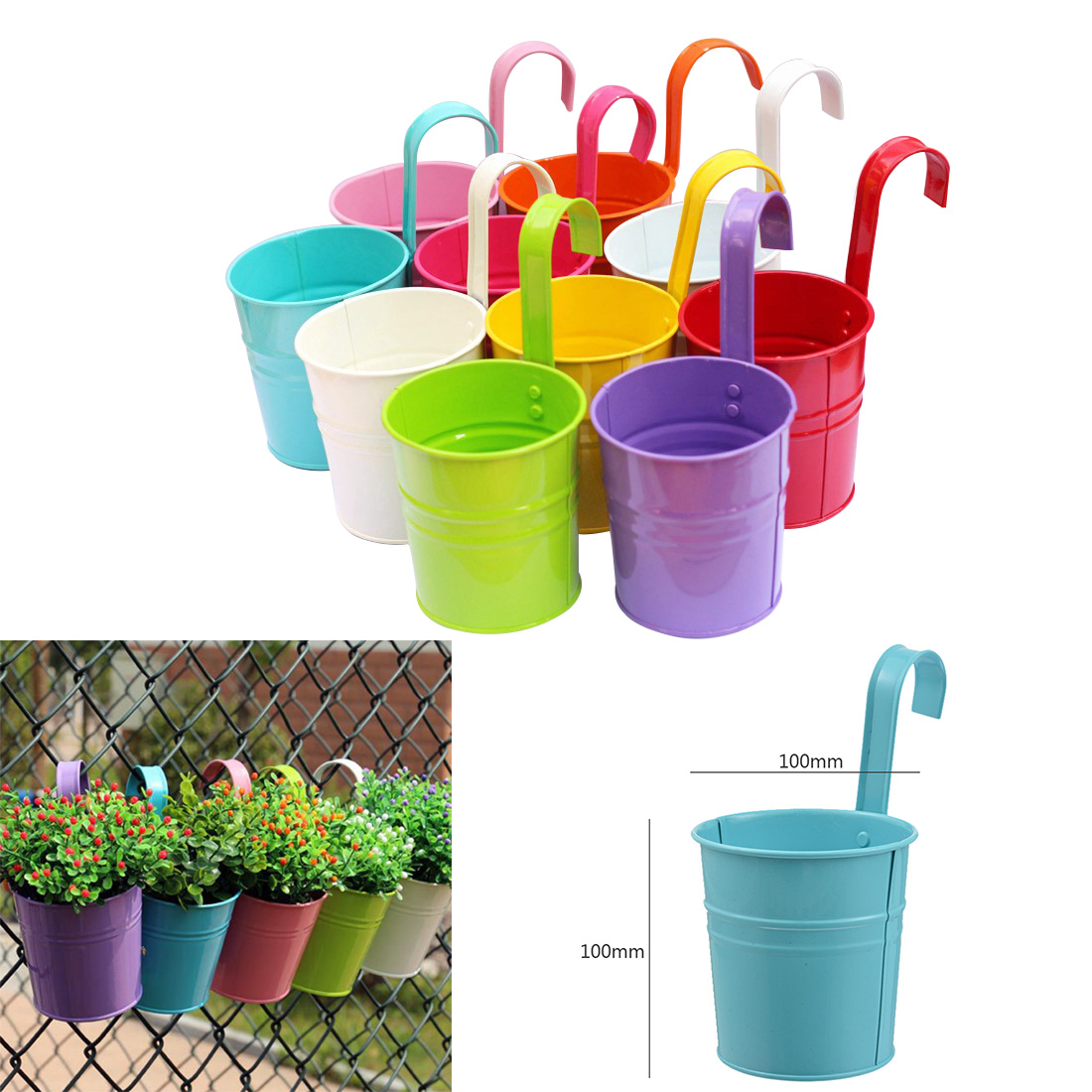 10 Colors Hanging Flower Pots  Hook Wall Pots Garden Pots Balcony Planters Metal Bucket Flower Holders Home Decor High Quality