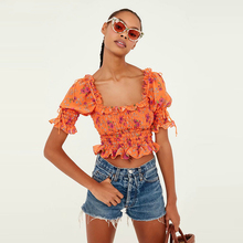 Peony Smocked Top Orange Blouse Shirt With Ruffles Straps Elastic Puff Sleeve Square Neck Women Summer Tops smocked neck fit