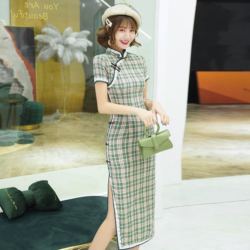 Oversize 3XL Novelty Short Chinese Formal Dress Chinese Style Women Mandarin Collar Qipao Vintage Elegant Lady Cotton Cheongsam