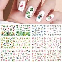 12 projetos verão folha margarida flor adesivos para unhas flor de ameixa água folha tatuagem decalque da arte do prego gel polonês slider accesoires