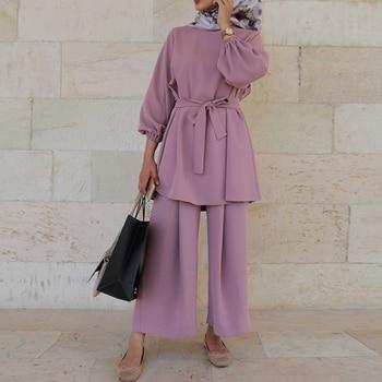 Aid Two Piece Muslim Sets Abaya Turkey Hijab Dress Caftan Moroccan Kaftan Islam Clothing Abayas