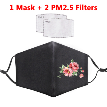 Reusable Filter PM2.5 Adult Anti Dust Mask Fresh Flowers Printed Fashion Hip Hop Warm Face Masks Washable Proof Flu Mouth-Muffle