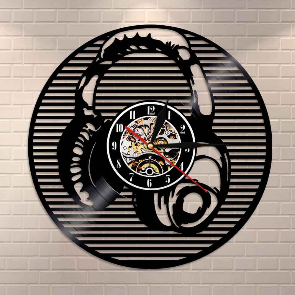 Music Headphone Retro Black LP Wall Clock Wall Art Vinyl Record Clock Music Studio Wall Decor Vintage Clock Gift For Music Lover