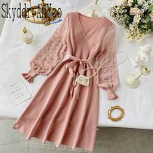 Женское Трикотажное вечернее платье розовое шифоновое с v образным