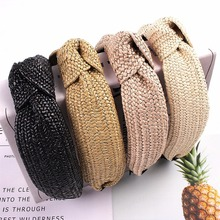 New Raffia Handmade Headband Knotted Hairband Solid Color for Women Spring Summer Bowknot Hair Hoop Accessories