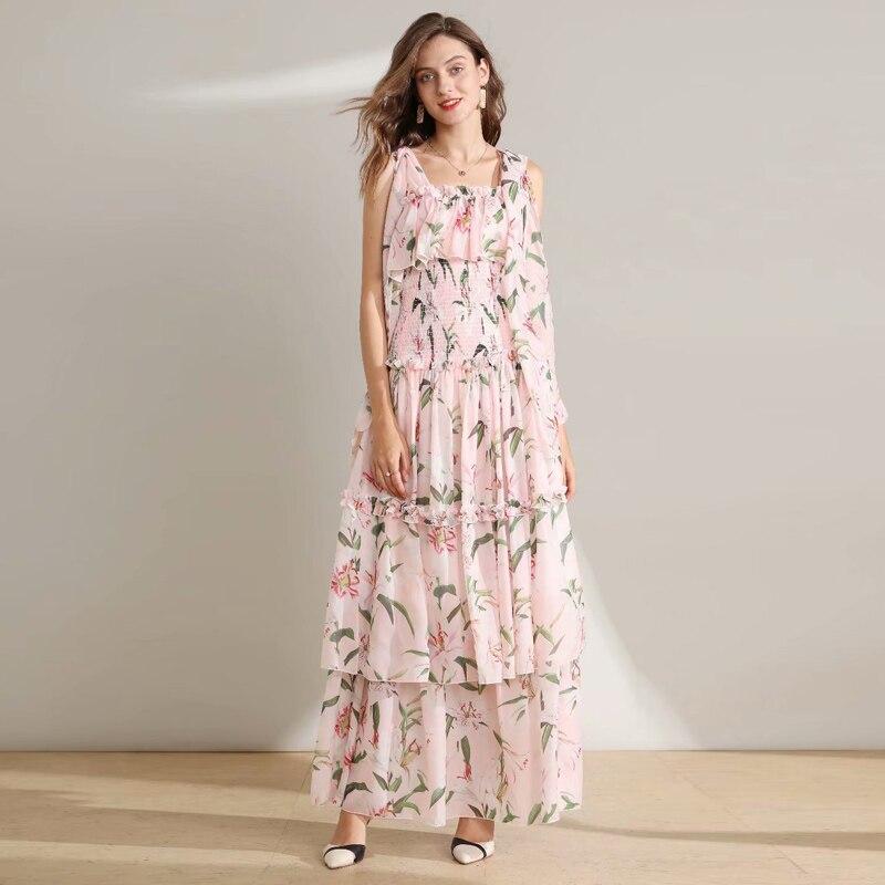 Maxi longue robe de haute qualité nouvelles femmes mode fête lâche Sexy plage bohème Vintage élégant Chic fleur imprimer robes en mousseline de soie