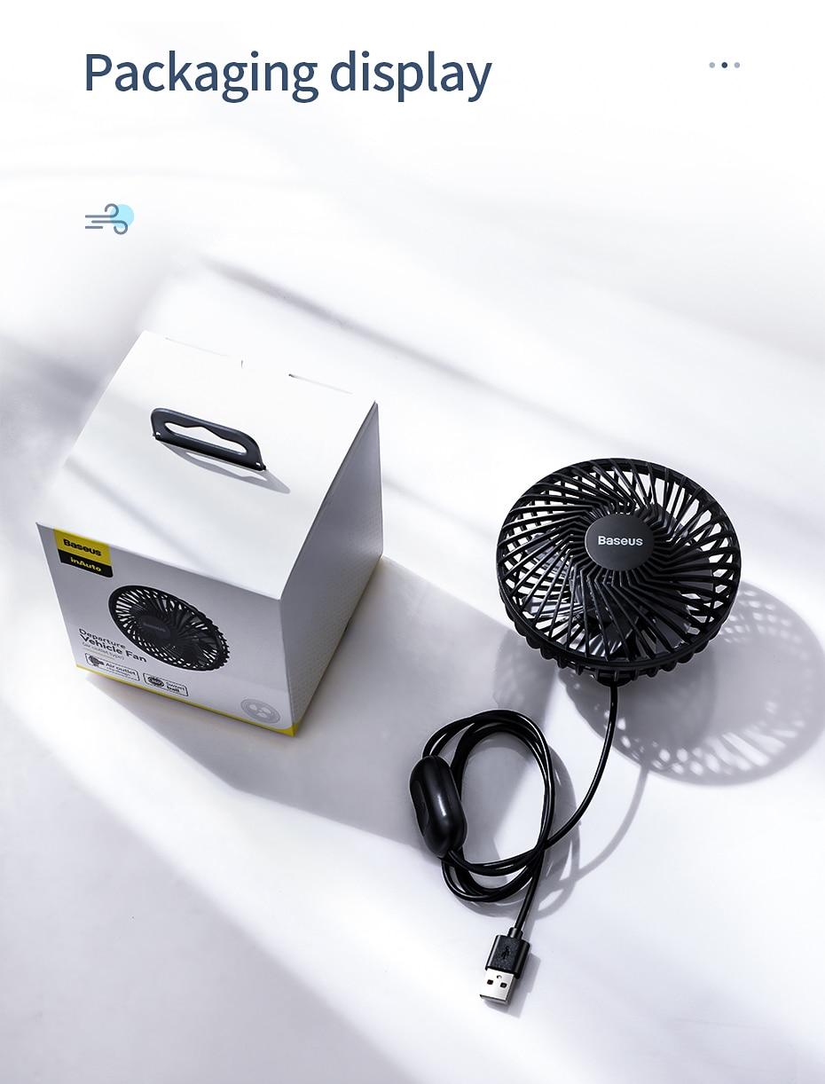 Baseus Air Vent Mounted USB Fan 3 Speed Air Cooling Fan For Car Air 6