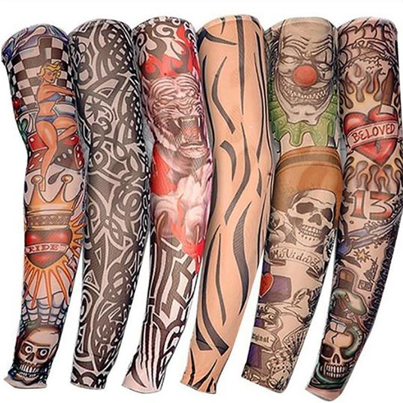1 Pcs Tattoo Sleeves UV Cool Arm Sleeves Cycling Running Arm Warmer Sport Elastic Oversleeve Arm Warmers