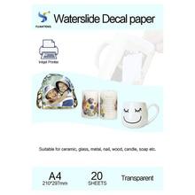 (20 개/몫) A4 크기 잉크젯 워터 슬라이드 데칼 전사 용지 투명 인쇄 용지 투명 잉크젯 워터 슬라이드 데칼 용지 무료