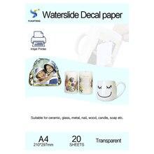 (20 teile/los) a4 Größe Inkjet Wasser Rutsche Aufkleber Transfer Papier Transparente Druck Papier Klar Inkjet Waterslide Aufkleber Papier Kostenloser