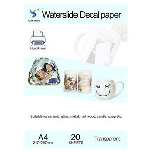 Image 1 - (20 teile/los) a4 Größe Inkjet Wasser Rutsche Aufkleber Transfer Papier Transparente Druck Papier Klar Inkjet Waterslide Aufkleber Papier Kostenloser