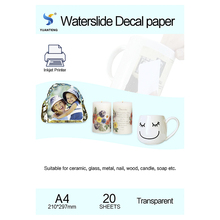 (20pcs/lot) A4 Size Inkjet Water Slide Decal Transfer Paper Transparent Printing Paper Clear Inkjet Waterslide Decal Paper Free