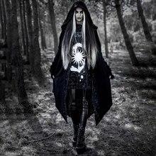 Imily Bela, готический Тренч, длинный, для женщин, зимний, открытая строчка, с принтом, с капюшоном, черный Тренч, асимметричный, Повседневный, свободный, длинный кардиган