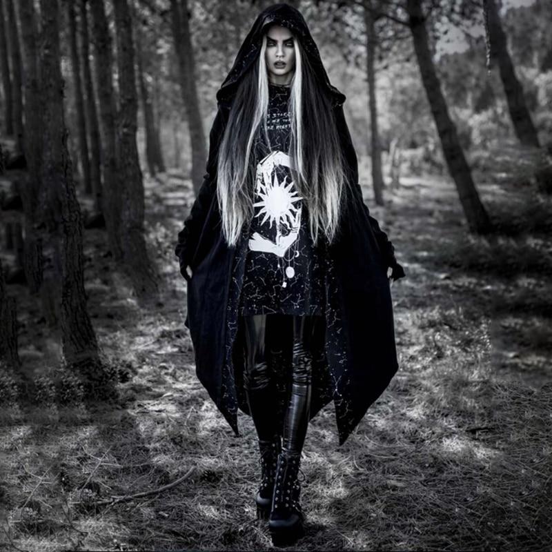 Imily Bela Gothic   Trench   Coat Women Hooded Open Stisch Asymmetric Print Long Cardigan Black Long Coat Autumn Winter Streetwear