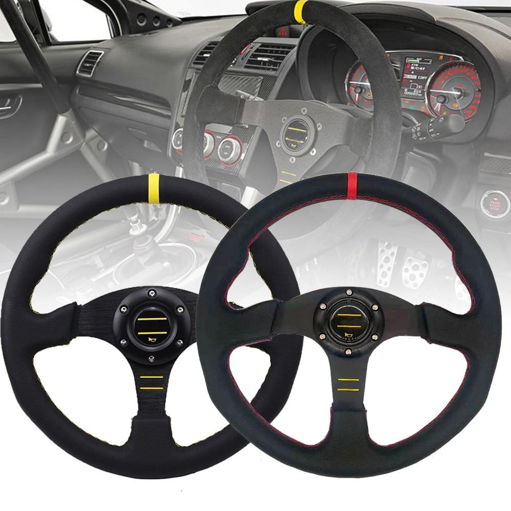 Otomobiller ve Motosikletler'ten Direksiyon ve Kornalar'de Evrensel 14 inç 350mm yarış direksiyon otomatik direksiyon spor deri direksiyon Logo ile title=