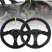 Universal 14inch 350mm Racing Steering Wheel Auto Steering Wheel Sport leather Steering Wheel With Logo 350mm real leather steering wheel universal 14 inch flat steering wheel with black spoke