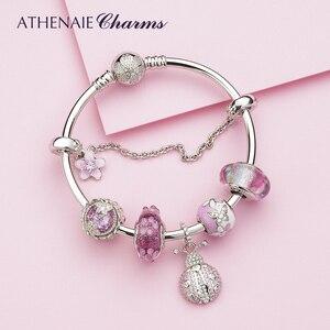 Image 2 - Athenaie na moda 925 prata esterlina claro cz sorte rosa joaninha pingente encantos ajuste feminino pulseira colar jóias diy wihite