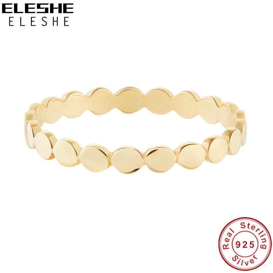 ELESHE czysta 925 Sterling Silver Fine Rings z 18K pozłacane monety łańcuch prosty pierścień dla kobiet Wedding Party biżuteria prezent