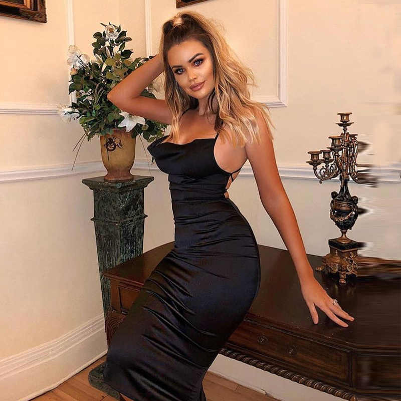 ネオンサテンレースアップ夏のドレスの女性ボディコンロングドレスノースリーブエレガントなパーティー衣装セクシーなクラブ服ローブ vestido サイズ