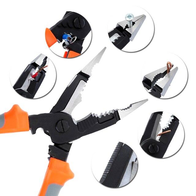 8 zoll 5 in 1 Multifunktions Elektriker Zange Elektrische Nadel Nase Zangen Abisolierzange Crimpen Zangen