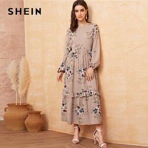 Image 5 - SHEIN Floral Ruffle Hem Fit and Flare Long High Waist Dress Women Spring Autumn Bishop Long Sleeve Boho Elegant Dresses