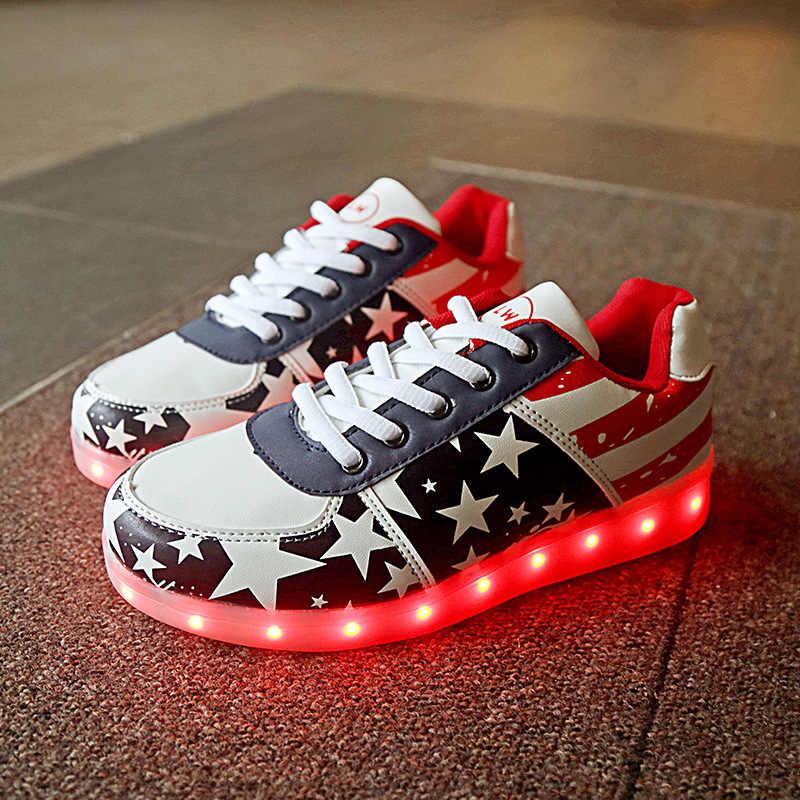 แฟชั่นเด็กบุรุษสตรีเรืองแสงรองเท้าผ้าใบรองเท้า Light Up Luminous Sneakers ตะกร้ารองเท้าแตะ Led Tenis LED Feminino 30