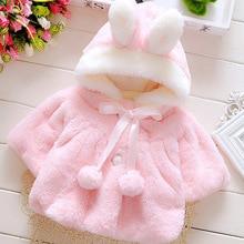 Пальто для новорожденных девочек; пальто с кроликом для маленьких девочек; детская куртка с капюшоном; Детское пальто с героями мультфильмов; детская хлопковая куртка; зимнее пальто