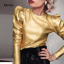 Gold Puff Long Sleeve Blouse Casual Female Spring O Neck Slim Pullover Tops Fashion Autumn Women Vel