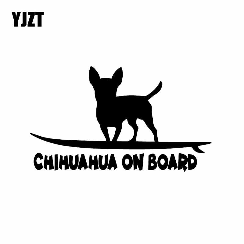 YJZT 16.2X9.4CM Vinyl Car Sticker Chihuahua On Board Funny Dog Breed Car Window Decal Black/Silver C24-1622