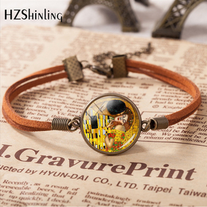 2020 Gustav Klimt Classic Painting The Kiss Bracelet Handmade Leather Charm Bracelets Klimt Art Jewelry Valentine Gift