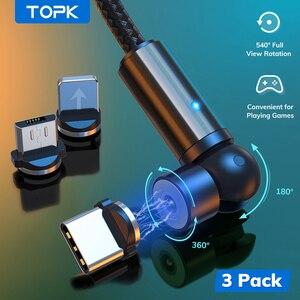 TOPK-Cable magnético de carga para iPhone XR 8 11, Samsung y Xiaomi, Cable Micro USB tipo C con giro de 540 grados, 3 paquetes