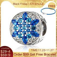 ATHENAIE 925 ayar gümüş mavi kristal & temizle CZ kristalize kar tanesi Charm Fit tüm avrupa bilezikler kolye