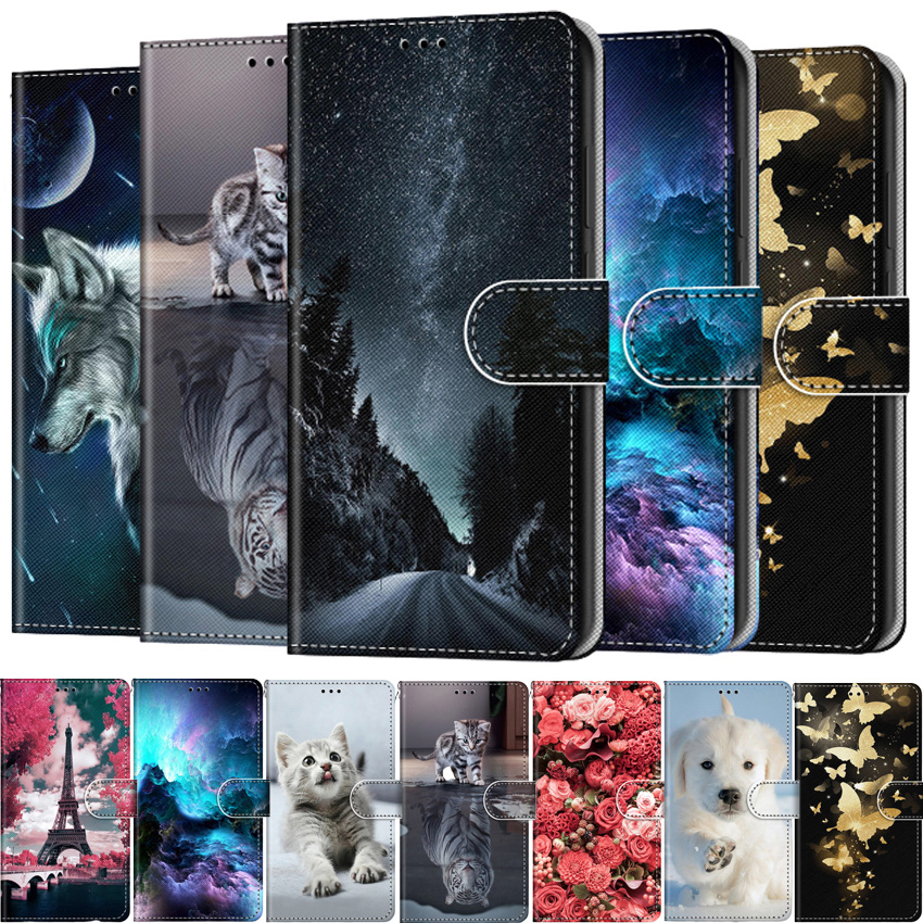 Flip Leather Case On For iPhone SE 6 7 8 6S 11 Pro X XS XR Max 2020 Fundas 3D Wallet Card Holder Stand Book Cover Painted Coque