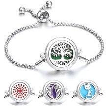 Novo pulseira de aromaterapia jóias óleo essencial difusor corrente ajustável árvore da vida asa coração aroma perfume medalhão pulseira