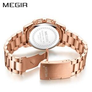Image 5 - MEGIR luxe Quartz femmes montres Relogio Feminino mode Sport dames amoureux montre horloge haut marque chronographe montre bracelet 2057