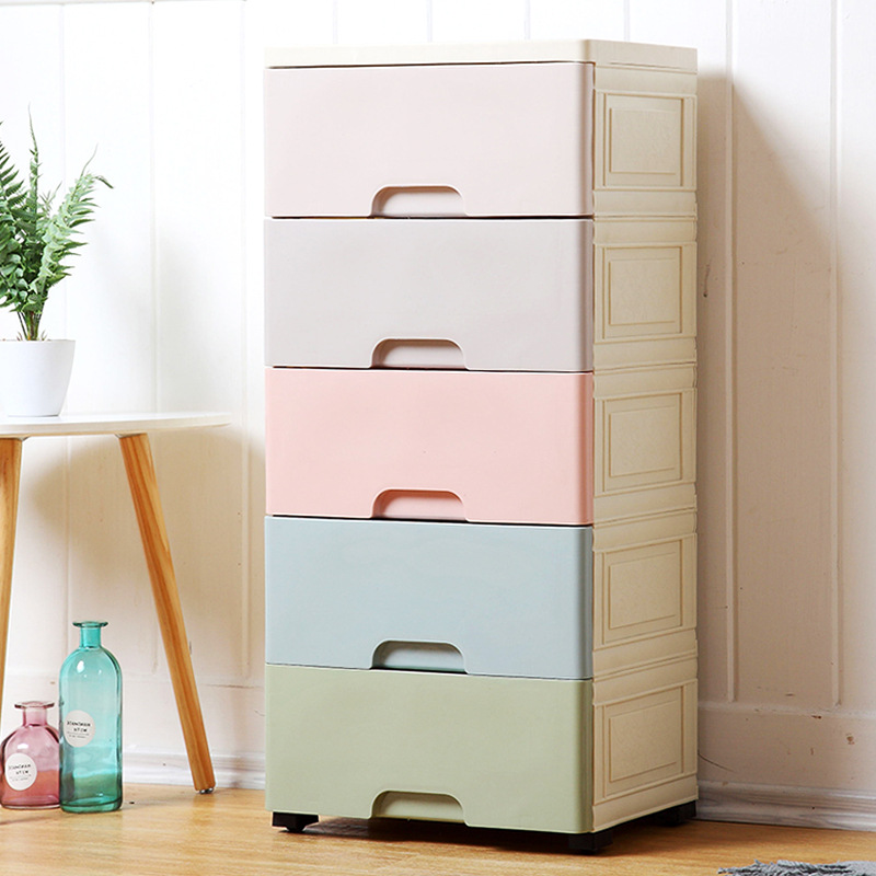 F hua er 38 Solid Color for Drawer-type Plastic Storage Cabinet Thick Toy Clothes Storage Box Baby Wardrobe